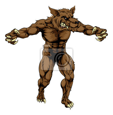 Werewolf or sports wolf mascot