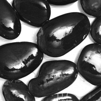Wall mural wet black stones