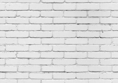 Wall mural White brick wall, seamless background texture