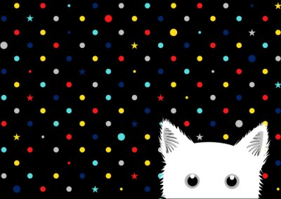 Wall mural White Cat Colorful Dots Star Background Vector Illustration