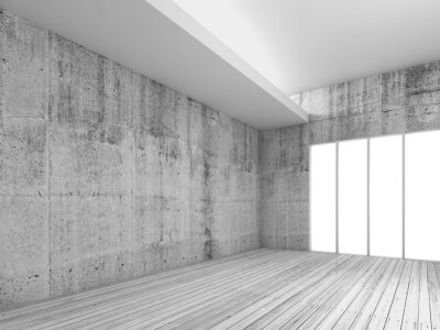 Wall mural White interior background with wooden floor, 3d