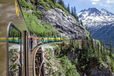 Wall mural White Pass  Yukon Route Railroad travels along the cliffs heading towards Skagway, Alaska