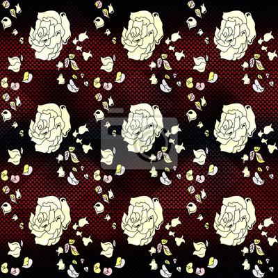 white rose on a beautiful background geometric seamless pattern