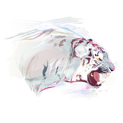 Wall mural White Tiger, Watercolor Illustration