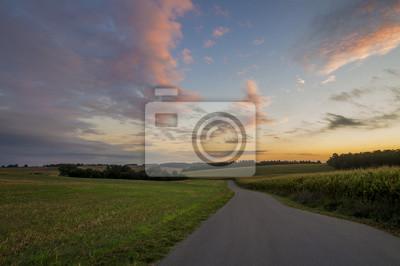 Wiejska droga pomiędzy polami o brzasku