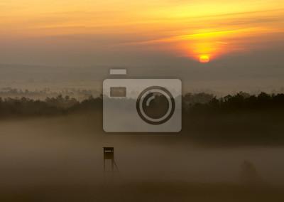 Wieża myśliwska we mgle o wschodzie słońca