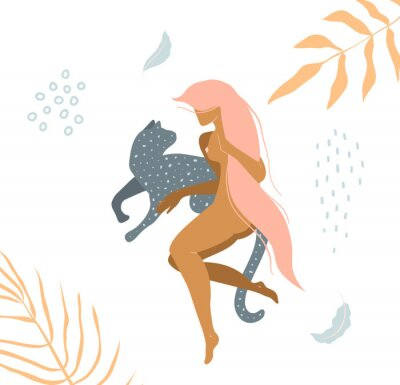 Wall mural Wild cat and naked woman laying down in nature apparel print design.
