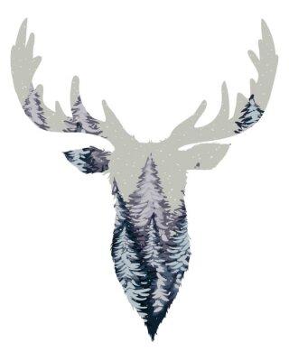 Wall mural Wild Deer Head Silhouette