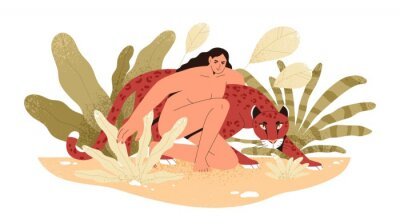 Wall mural Wilderness naked woman hug jaguar at tropical bushes vector flat illustration. Predator and human together isolated. Contemporary concept of wild female nature, environment protection.