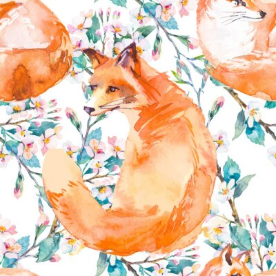 Wall mural Wildlife pattern. Fox and flowering branches. Vector.