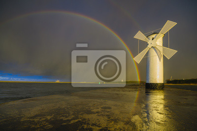 Windmill in Swinoujscie on the island of Usedom, the Baltic Sea, Poland