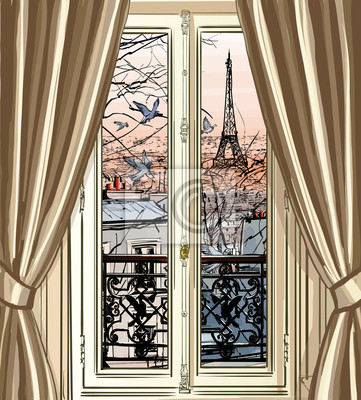 Wall mural Window with Eiffel tower and roofs view