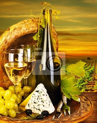 Wall mural Wine and cheese romantic dinner outdoor