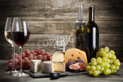Wall mural Wine and cheese still life