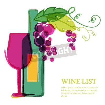 Wall mural Wine bottle, glass, pink grape vine, watercolor illustration. Abstract vector background design template. Concept for wine list, menu, flyer, party, alcohol drinks, celebration holidays.