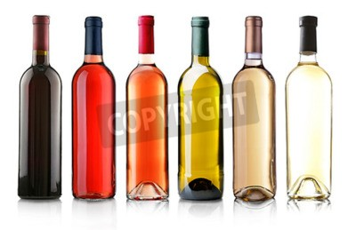 Wall mural Wine bottles in row isolated on white