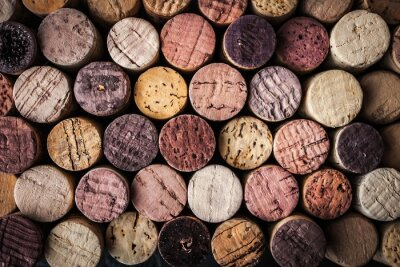 Wall mural Wine corks background close-up