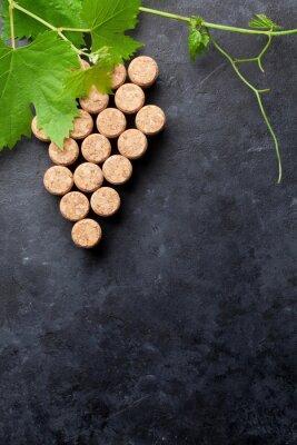 Wall mural Wine corks grape shape and vine