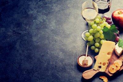 Wall mural Wine, grape, cheese and honey