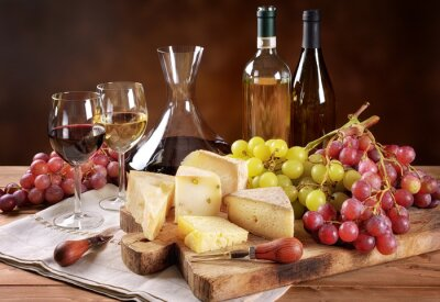 Wall mural Wine, grapes and cheese