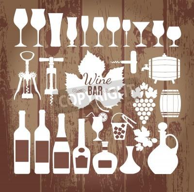 Wall mural Wine icons design set. Vector stock illustration.