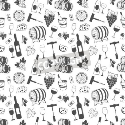 Wall mural Wine seamless pattern with grapes, leaves, wine, bottle of wine and etc.