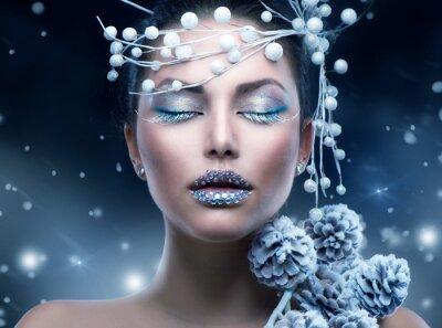 Wall mural Winter Beauty Woman. Christmas Girl Makeup