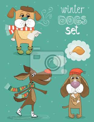 Wall mural winter dog