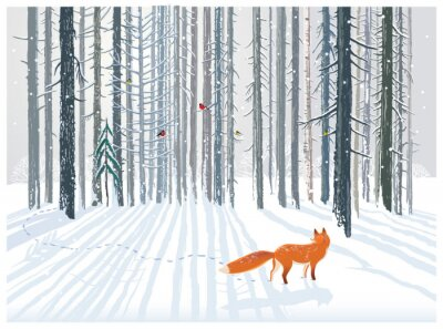 Wall mural Winter forest landscape with a Fox.