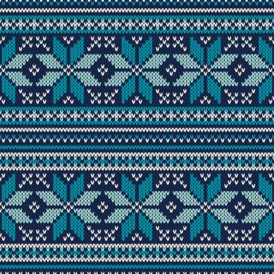 Wall mural Winter Holiday Seamless Knitted Pattern. Fair Isle Sweater Desig