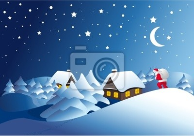winter landscape with Santa Clause