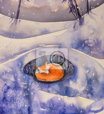Wall mural Winter scene with fox,tree and snow covered field and dried grass.Picture created with watercolors.