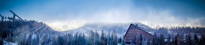 Wall mural winter scenic panorama view of mountain with a hotel and ski jumping platform, sun covered with clouds