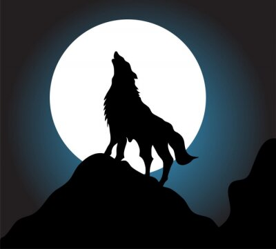 Wall mural Wolf howl background