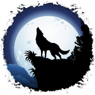 Wall mural Wolf Howling at Blue Moon on Grunge Frame