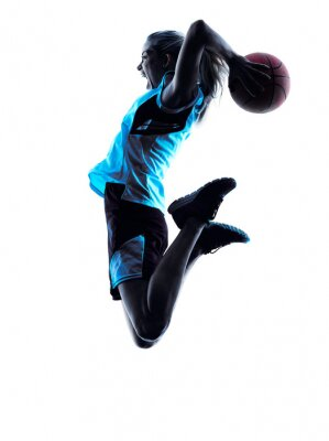 Wall mural woman basketball player silhouette