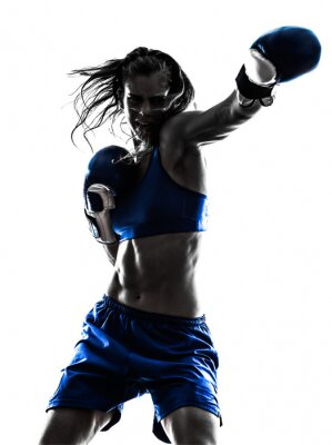 Wall mural woman boxer boxing kickboxing silhouette isolated