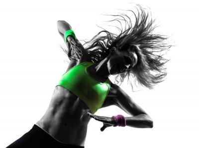 Wall mural woman exercising fitness zumba dancing silhouette