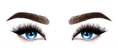Wall mural Woman eyes with long eyelashes. Hand drawn watercolor illustration. Eyelashes and eyebrows. Design for eyelash extensions, microblading, mascara, beauty salon, cosmetics, makeup artist. Blue eyes.