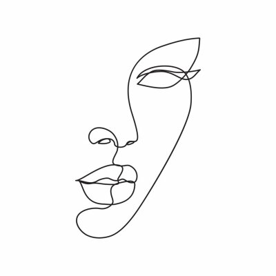 Wall mural Woman face line drawing art. Abstract minimal female face icon, logo