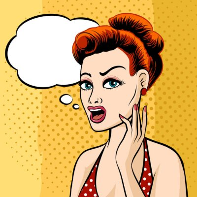 Wall mural Woman Face with Speech Bubble
