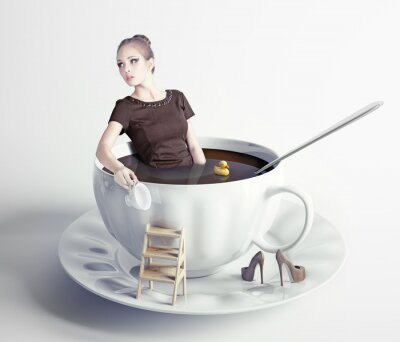 Wall mural woman  in cup of coffee