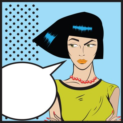 Wall mural Woman Pop art  - Retro Clip Art illustration