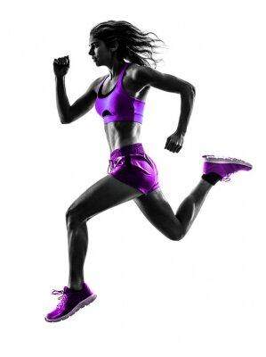 Wall mural woman runner running jogger jogging silhouette