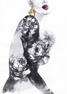 Wall mural woman with flowers. beauty background. fashion illustration. watercolor painting
