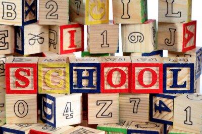 Wall mural Wooden alphabet blocks