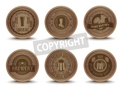 Wall mural Wooden beer house emblems retro style beverage drip mats coasters  icons collection print abstract isolated vector illustration