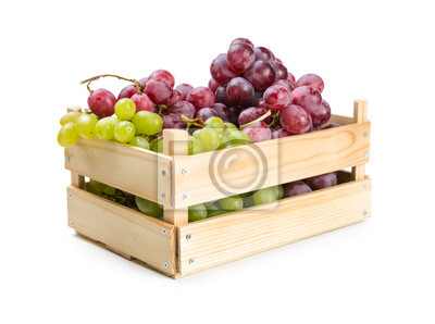Wooden box with grapes