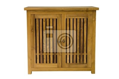 Wooden chest on a white background