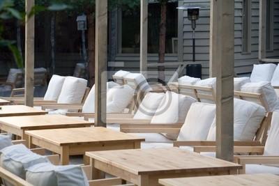 Wooden furniture in the restaurant
